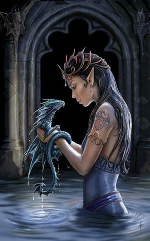 rAN24-Water Dragon Card (Anne Stokes Girls and Dragons Cards) at Enchanted Jewelry & Gifts