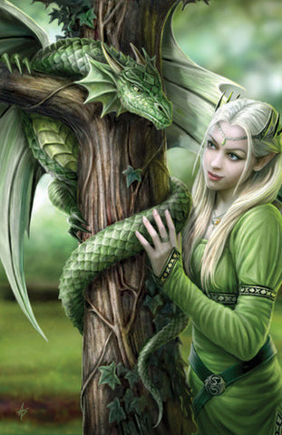rAN27-Kindred Spirits Card (Anne Stokes Girls and Dragons Cards) at Enchanted Jewelry & Gifts