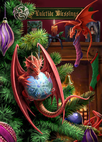 (Product Code: rAN28) Little Helpers Card, Anne Stokes Yuletide Magic Cards - EnchantedJewelry