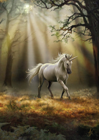 (Product Code: rAN30) Glimpse of a Unicorn Card, Anne Stokes Unicorns Cards - EnchantedJewelry