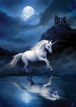 (Product Code: rAN32) Moonlight Unicorn Card, Anne Stokes Unicorns Cards - EnchantedJewelry
