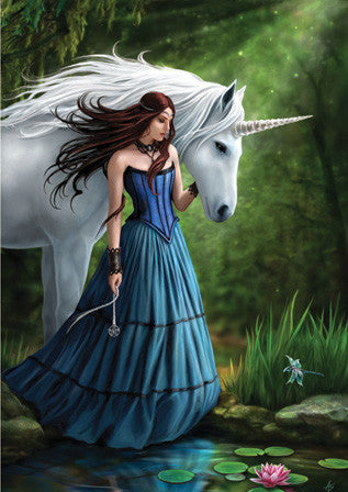 rAN33 - Contemplation Unicorn Card by Anne Stokes (Unicorns Cards) at Enchanted Jewelry & Gifts