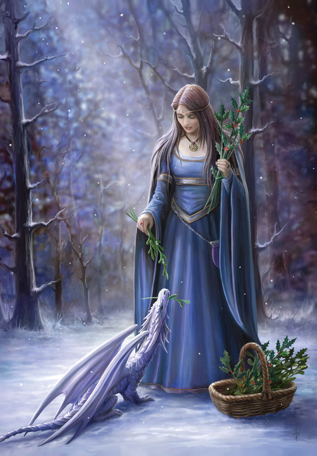 rAN41-Solstice Gathering Card-Anne Stokes Yuletide Magic Cards-Enchanted Jewelry & Gifts