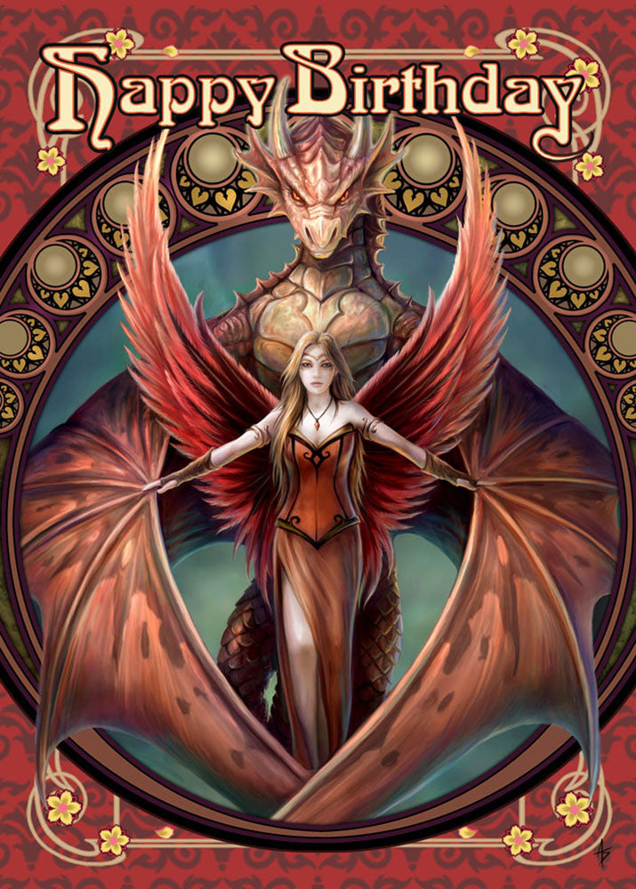 (Product Code: rAN50) Copperwing Birthday Card, Anne Stokes Birthday Cards - EnchantedJewelry - 1