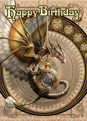(Product Code: rAN53) Clockwork Dragon Birthday Card, Anne Stokes Birthday Cards - EnchantedJewelry - 1