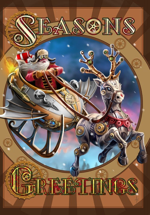 (Product Code: rAN56) Steampunk Santa Yule Card, Anne Stokes Yuletide Magic Cards - EnchantedJewelry - 1