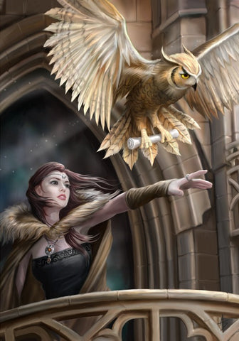rAN60 - Owl Messenger Card by Anne Stokes (Eastern Promise Cards) at Enchanted Jewelry & Gifts