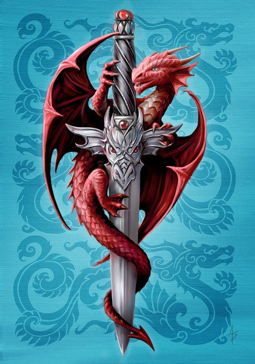 (Product Code: rAN62) Dragon and Dagger Card by Anne Stokes, Anne Stokes Eastern Promise Cards - EnchantedJewelry - 1