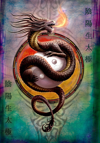 (Product Code: rAN65) Yin Yang Protector Card by Anne Stokes, Anne Stokes Eastern Promise Cards - EnchantedJewelry - 1