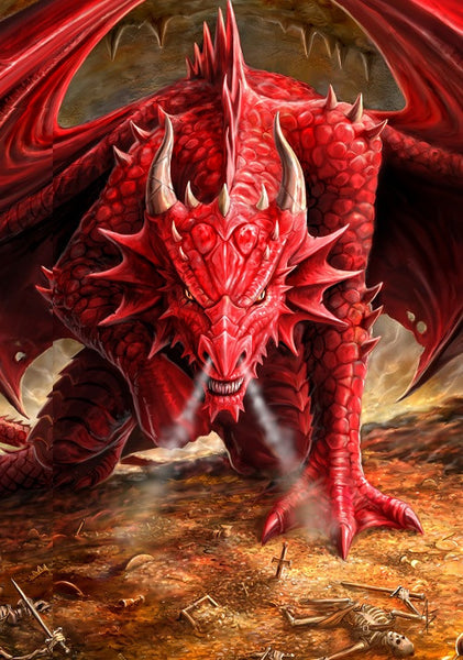 Dnd Red Dragon: Dragon's Lair Card By Anne Stokes
