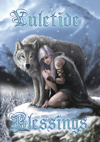 rAN71 - Winter Protector Yuletide Blessing Card by Anne Stokes (Yuletide Magic Yule Cards) at Enchanted Jewelry & Gifts