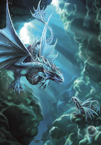 (Product Code: rAN72) Water Dragon Card, Anne Stokes Age of Dragons Cards - EnchantedJewelry