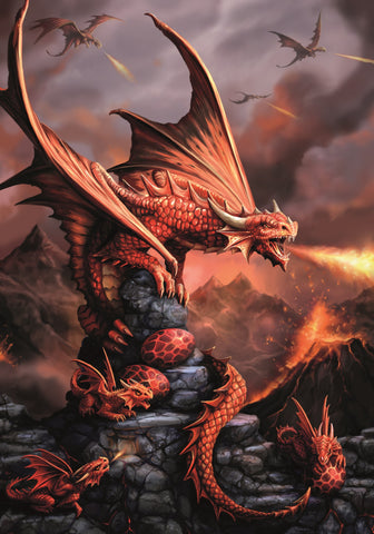 rAN73 - Fire Dragon Card by Anne Stokes (Age of Dragons Cards) at Enchanted Jewelry & Gifts
