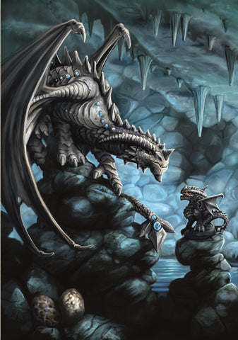(Product Code: rAN76) Rock Dragon Card, Anne Stokes Age of Dragons Cards - EnchantedJewelry