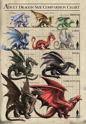 rAN78 - Size Chart Dragons Card (Anne Stokes Age of Dragons Cards) at Enchanted Jewelry & Gifts