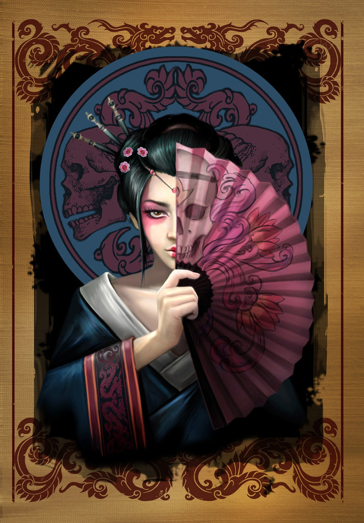 (Product Code: rAN83) Geisha Skull Card, Anne Stokes Eastern Promise Cards - EnchantedJewelry