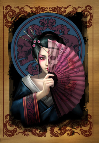 rAN83 - Geisha Skull Card (Anne Stokes Eastern Promise Cards) at Enchanted Jewelry & Gifts