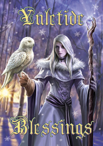 rAN88-Winter Owl Yule Card-Anne Stokes Yuletide Magic Cards-Enchanted Jewelry & Gifts