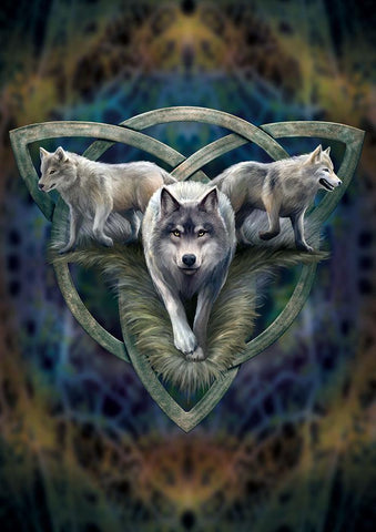 rAN93 - Wolf Trio Card (Anne Stokes Eastern Promise Cards) at Enchanted Jewelry & Gifts