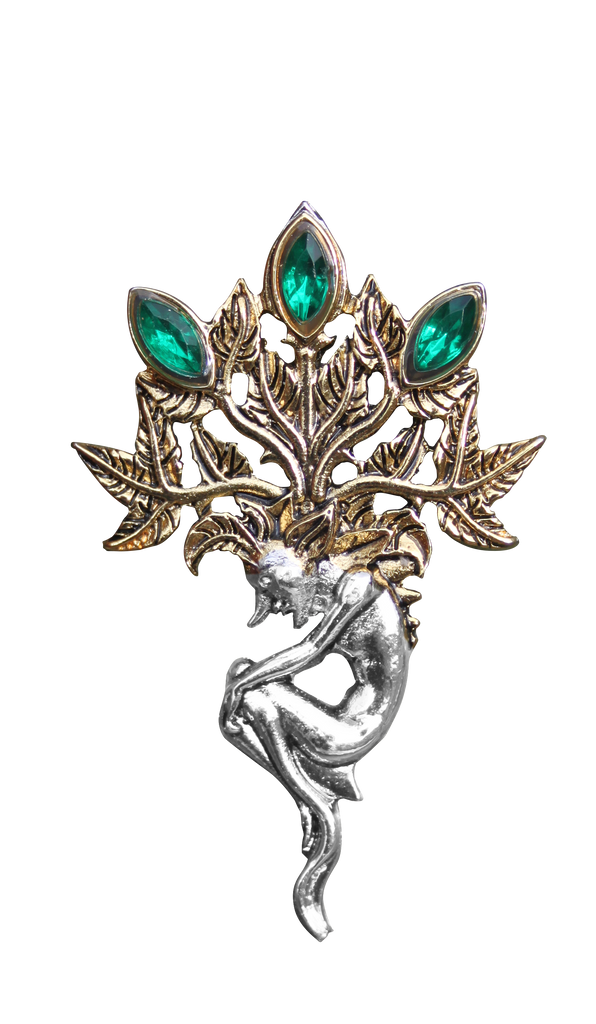 BB10B-Mandrake for Luck and Wealth Brooch by Briar (Briar Bestiary) at Enchanted Jewelry & Gifts