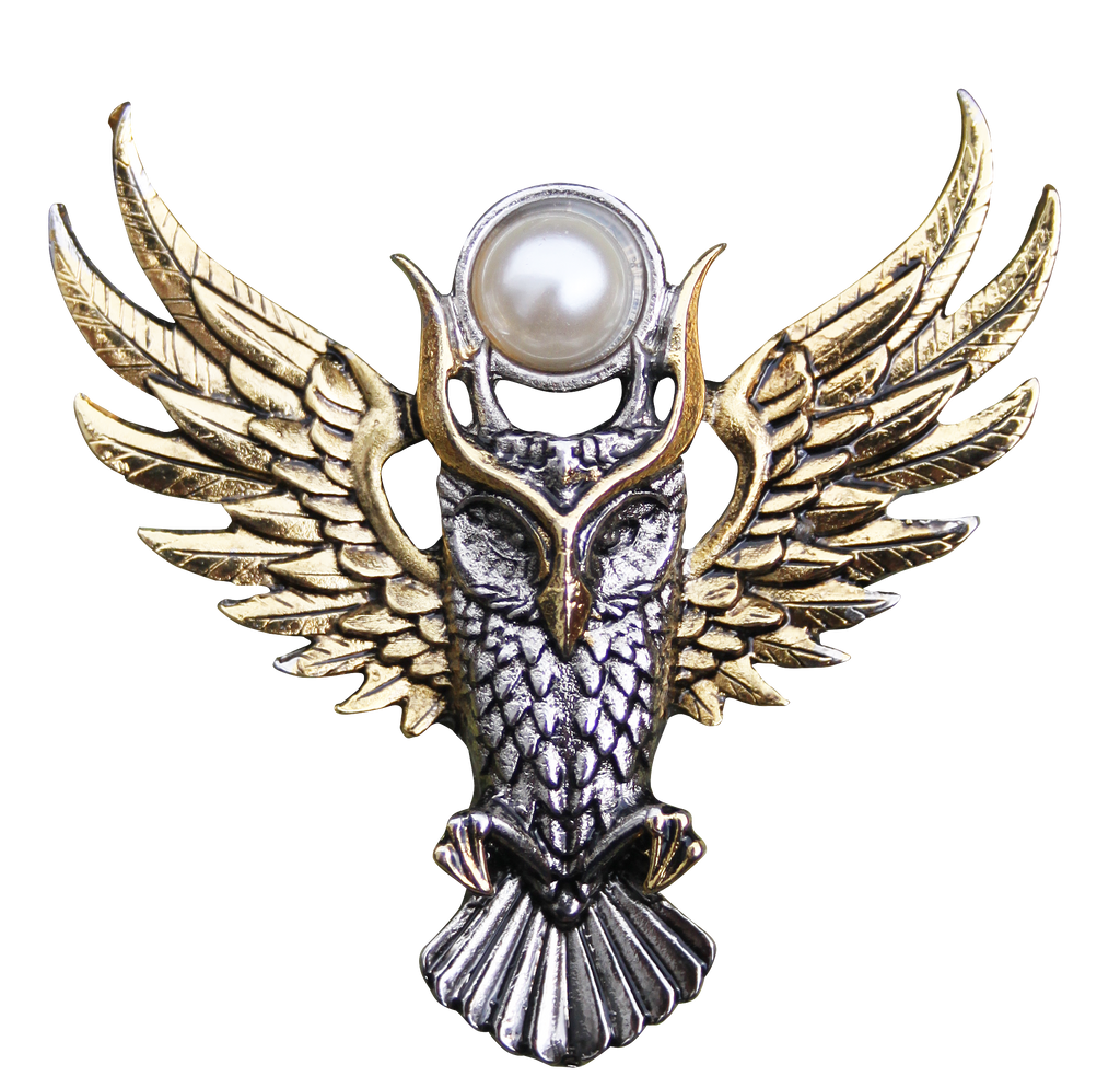 BB12B-Owl of Athena for Magickal Wisdom Brooch by Briar (Briar Bestiary) at Enchanted Jewelry & Gifts
