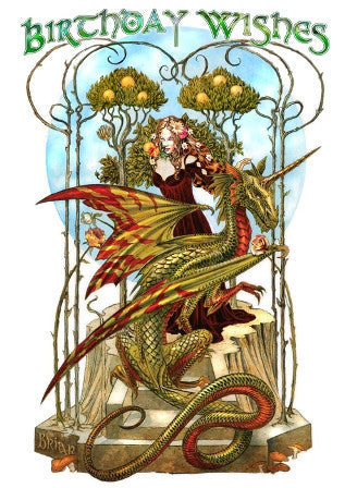 (Product Code: rBM45) Garden of the Fire Drake Card, Briar Birthday Cards - EnchantedJewelry