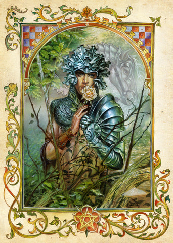 rBM55 - The Green Knight by Briar (Briar Mediaeval Cards) at Enchanted Jewelry & Gifts