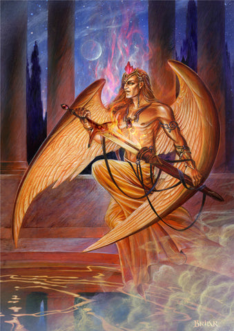 rBM81 - Michael Angel of Fire Card by Briar (Elemental Archangel Cards) at Enchanted Jewelry & Gifts