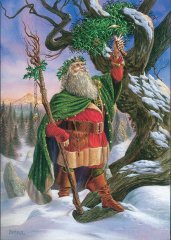 (Product Code: rBY02) Gathering Mistletoe Card, Briar Yule Cards - EnchantedJewelry