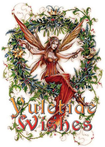 (Product Code: rBY13) Briar Mistletoe Fairy Midwinter Card, Briar Yule Cards - EnchantedJewelry