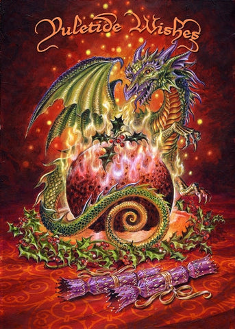 rBY16 - Flaming Dragon Pudding by Briar (Yule Cards) at Enchanted Jewelry & Gifts