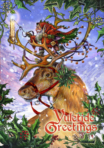 (Product Code: rBY21) Guided by Northern Lights Yule Card, Briar Yule Cards - EnchantedJewelry