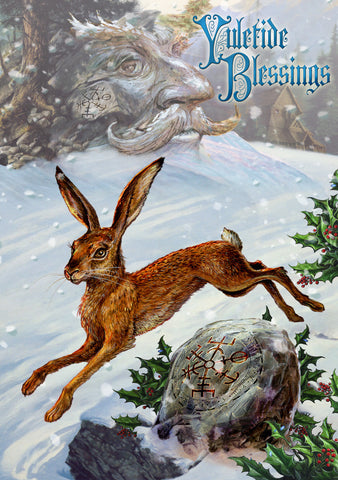 (Product Code: rBY23) Midwinter Rune Hare Yule Card, Briar Yule Cards - EnchantedJewelry