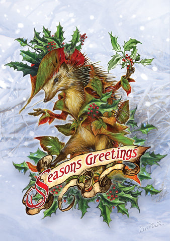 (Product Code: rBY27) Mr. Hedgely's Yuletide Coat Card, Briar Yule Cards - EnchantedJewelry