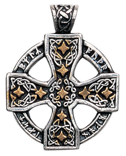 (Product Code: NLCC03) Runic Celtic Cross Pendant for Knowledge and Magical Ability, Nordic Lights - EnchantedJewelry