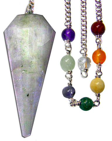 DPCMOON-Rainbow Moonstone Chakra Pendulum for Fortelling Future, Good Fortune, & Protection (Pendulums) at Enchanted Jewelry & Gifts