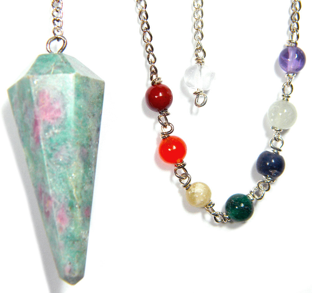 DPCRUBY - Ruby Zoisite Gemstone Pendulum for Positive Energy (Pendulums) at Enchanted Jewelry & Gifts