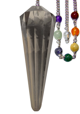 DPCSQ-Smoky Quartz Faceted Chakra Pendulum for Grounding and Security (Pendulums) at Enchanted Jewelry & Gifts