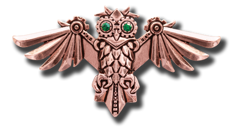 (Product Code: EN12) Aviamore Owl Brooch For Freedom Of Mind, Engineerium - EnchantedJewelry