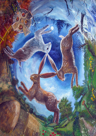 (Product Code: rGN01) Three Hares Card, Dashinvaine Cards - EnchantedJewelry