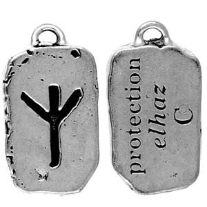(Product Code: HRP15) Elhaz - Protection, Rune Pendants Carded - EnchantedJewelry