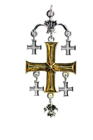 (Product Code: KT09) Jerusalem Cross for the True Seeker of Worldly and Spiritual Riches, Knights Templar - EnchantedJewelry