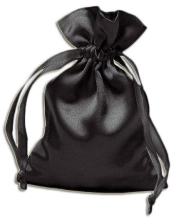 (Product Code: PS03) Black Satin Pouch, Satin Bags - EnchantedJewelry