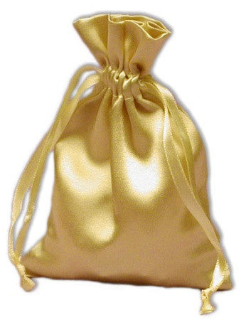(Product Code: PS04) Light Gold Satin Pouch, Satin Bags - EnchantedJewelry