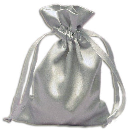 (Product Code: PS05) Silver Satin Pouch, Satin Bags - EnchantedJewelry