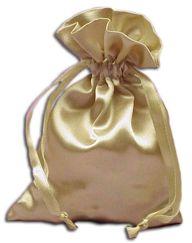 (Product Code: PS07) Champagne Satin Pouch, Satin Bags - EnchantedJewelry