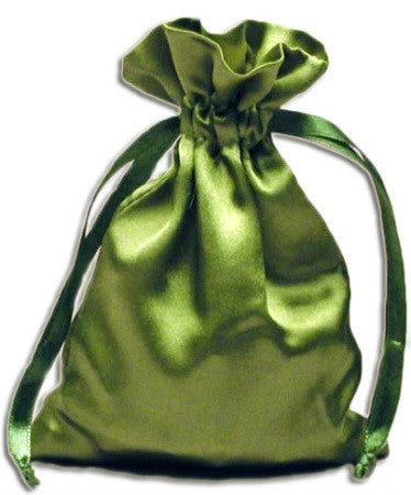 (Product Code: PS10) Moss Green Satin Pouch, Satin Bags - EnchantedJewelry