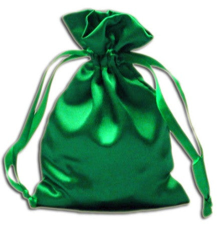(Product Code: PS11) Emerald Green Satin Pouch, Satin Bags - EnchantedJewelry