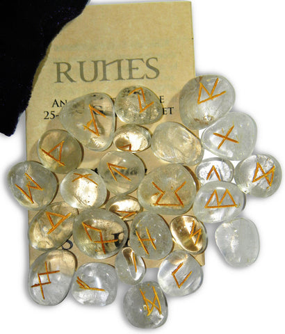 RSCQ-Crystal Quartz Gemstone Runes (Rune Stones) at Enchanted Jewelry & Gifts
