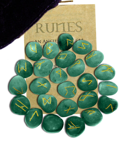 RSGA - Green Aventurine Gemstone Runes (Rune Stones) at Enchanted Jewelry & Gifts
